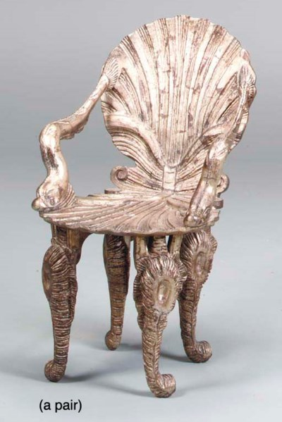 A PAIR OF VENETIAN CARVED AND
