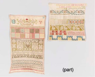 A GROUP OF FIVE NEEDLEWORK SAM