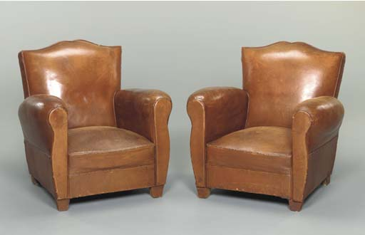 A PAIR OF LEATHER-UPHOLSTERED