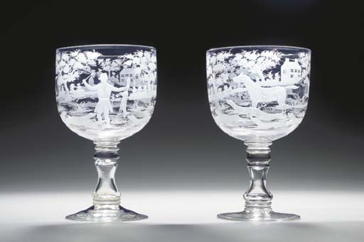 A PAIR OF ENGLISH GLASS HUNTIN