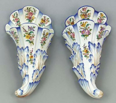 A PAIR OF FRENCH CREAMWARE WAL