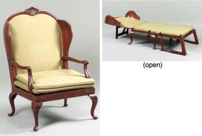 A GEORGE II MAHOGANY CHAIR-BED