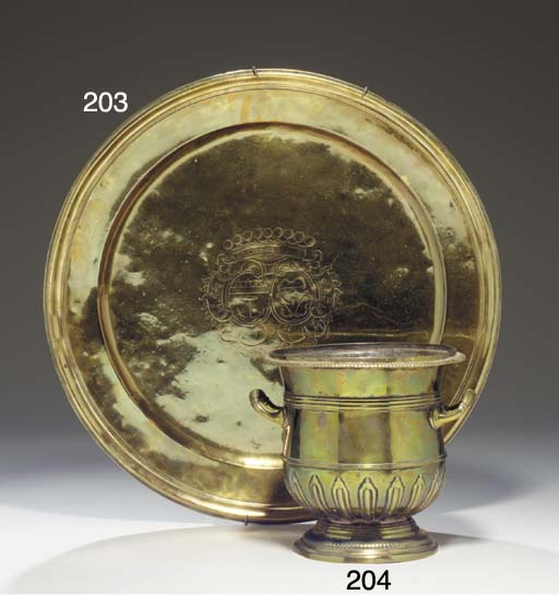 A FRENCH BRASS WINE COOLER