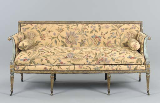 A GEORGE III BLUE-PAINTED AND