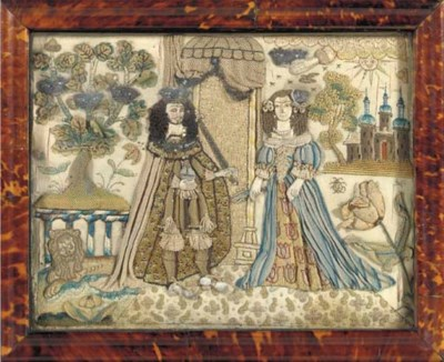 A CHARLES I SILK-EMBROIDERED S