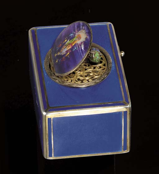 A FRENCH SILVER AND ENAMEL SIN
