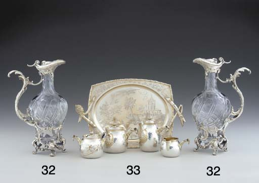 A PAIR OF FRENCH SILVER AND GL