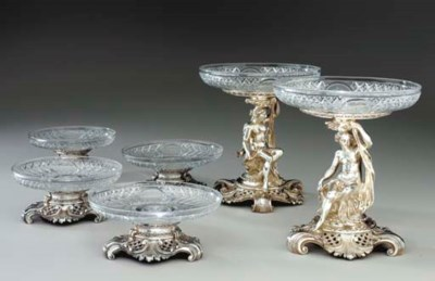 A FRENCH SILVER TABLE GARNITUR