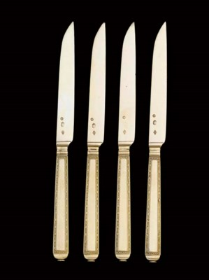 A SET OF FRENCH SILVER-GILT FR