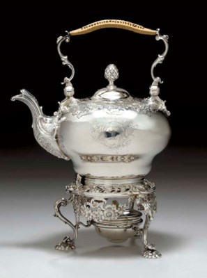 A GEORGE II SILVER KETTLE ON S