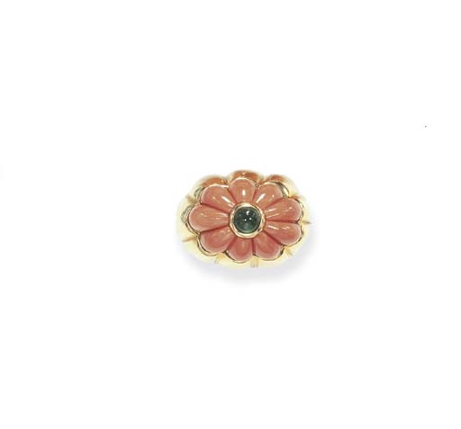 **A CORAL AND EMERALD RING