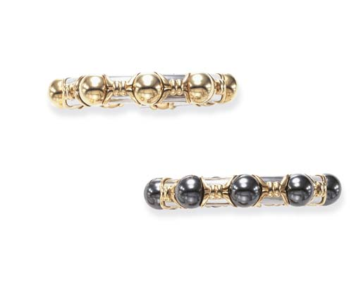 A PAIR OF GOLD AND HEMATITE