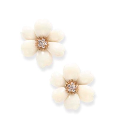 **A PAIR OF CORAL EAR CLIPS, B