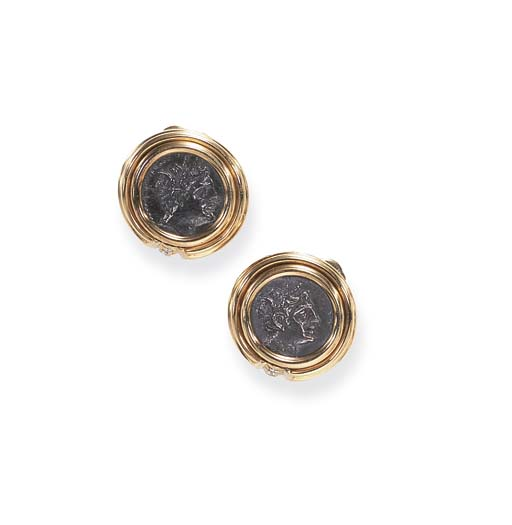 A PAIR OF GOLD AND COIN EAR CL