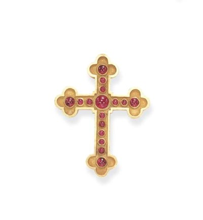 A RUBY AND GOLD CROSS PENDANT,