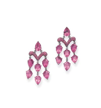 A PAIR OF TOURMALINE AND PINK