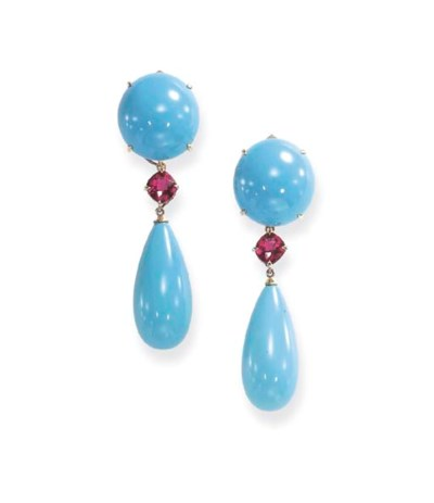 A PAIR OF TURQUOISE AND TOURMA