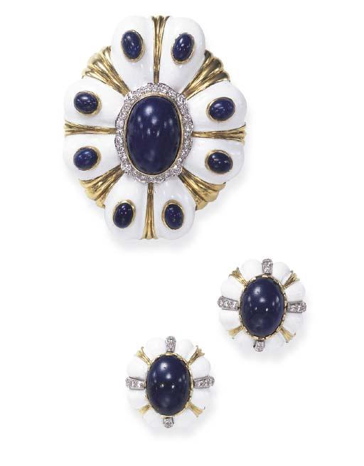 A SET OF LAPIS LAZULI, DIAMOND