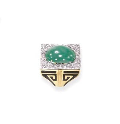 A JADEITE, DIAMOND AND ENAMEL