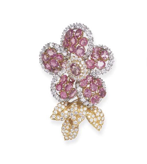A DIAMOND AND PINK SAPPHIRE FL
