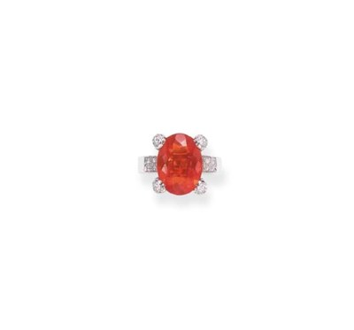 A FIRE OPAL AND DIAMOND RING,