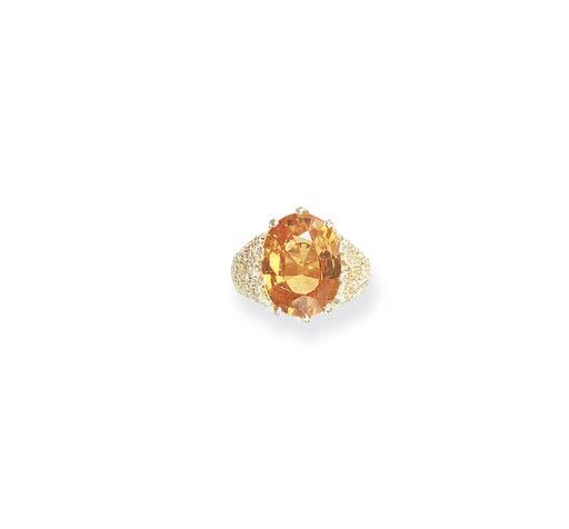 A GARNET AND COLORED DIAMOND R