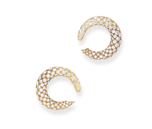 A PAIR OF DIAMOND EAR HOOPS, B