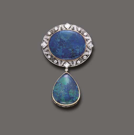 A FINE BLACK OPAL AND DIAMOND
