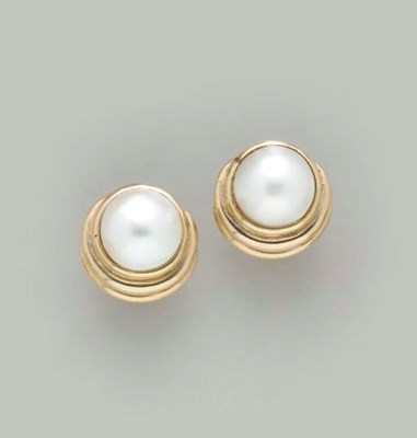 A PAIR OF MABÉ PEARL AND GOLD