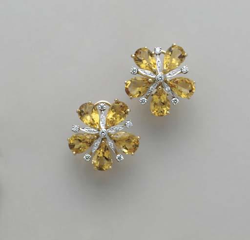 A PAIR OF CITRINE, DIAMOND AND