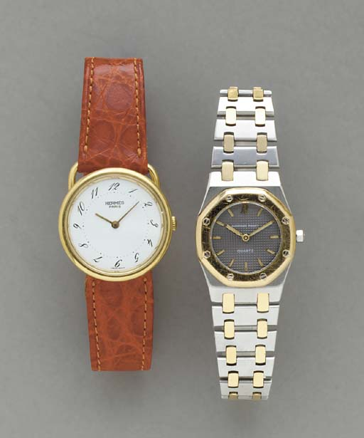 TWO GOLD, STEEL AND GILT WRIST
