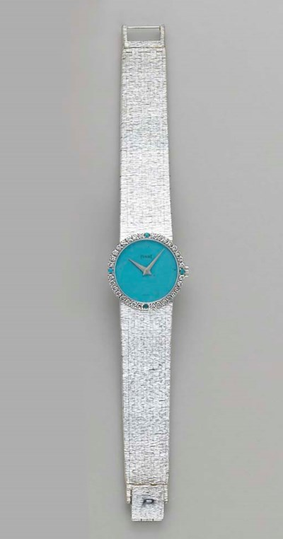 A DIAMOND, TURQUOISE AND 18K W