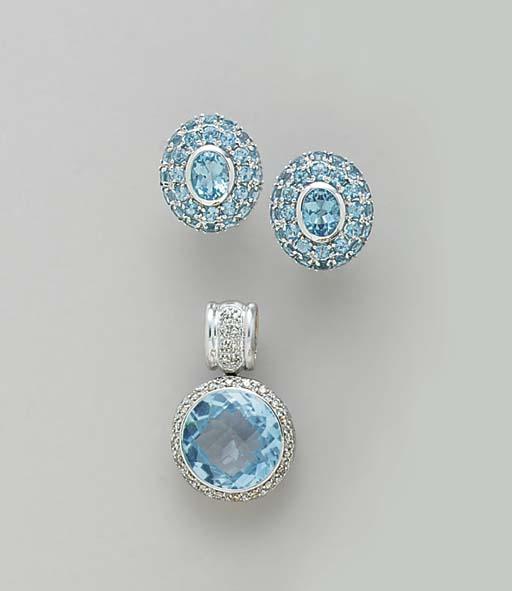 A GROUP OF BLUE TOPAZ, DIAMOND