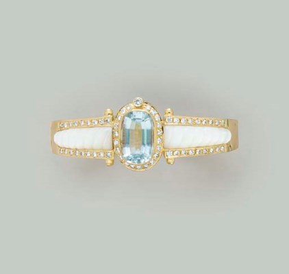 A BLUE TOPAZ, MOTHER-OF-PEARL,