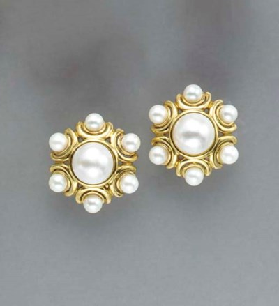 A PAIR OF MABE PEARL, CULTURED