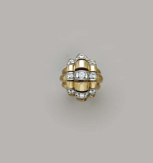 A RETRO GOLD AND DIAMOND RING