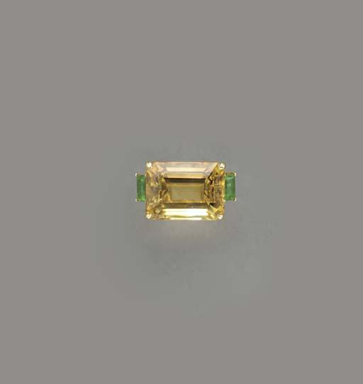 A CITRINE, EMERALD, DIAMOND AN