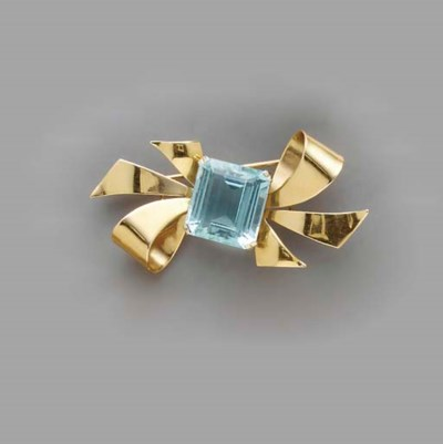 TWO GEM-SET AND 14K GOLD BROOC