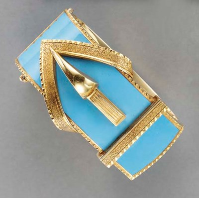 AN ANTIQUE GOLD AND BLUE ENAME