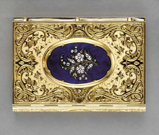 AN ANTIQUE GOLD, BLUE ENAMEL A