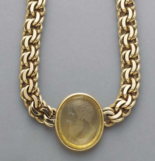 A 14K GOLD AND CITRINE NECKLAC
