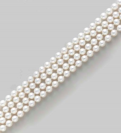 TWO CULTURED PEARL AND GOLD NE
