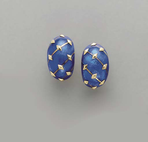 A PAIR OF BLUE ENAMEL AND GOLD