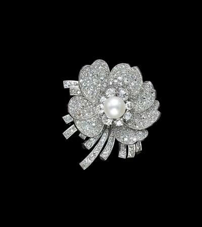A DIAMOND, CULTURED PEARL, PLA
