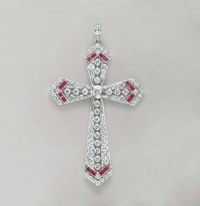 A DIAMOND, RUBY AND PLATINUM C