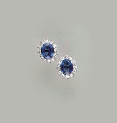 A PAIR OF SAPPHIRE, DIAMOND AN