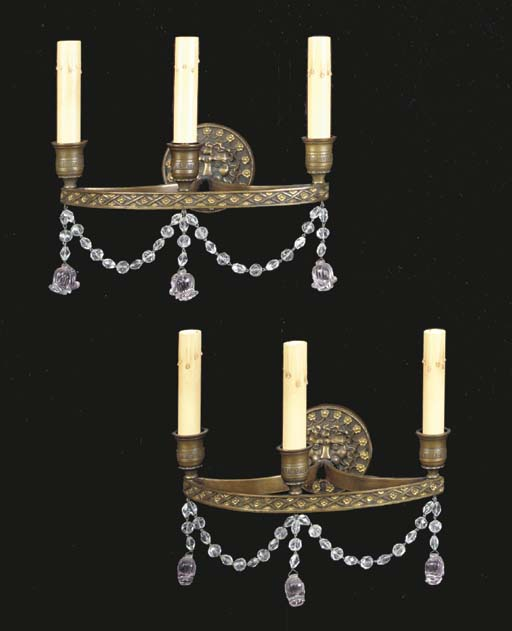 A pair of American parcel-gilt