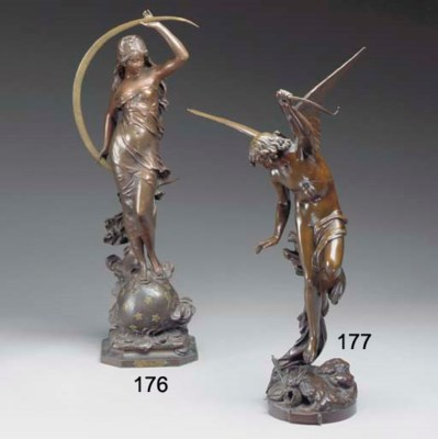 A French bronze figure of a ny