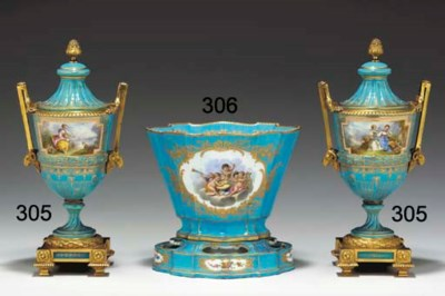 A SEVRES LATER-DECORATED TURQU