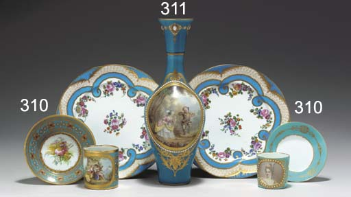 A SEVRES STYLE 'JEWELLED' TURQ